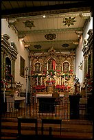 Altar and retablo from Barcelona in the Serra Chapel. San Juan Capistrano, Orange County, California, USA (color)