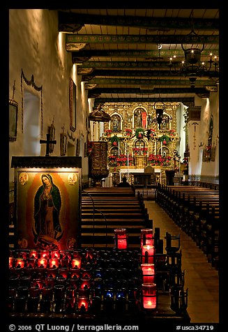 Inside of original mission chapel, constructed in 1782. San Juan Capistrano, Orange County, California, USA (color)