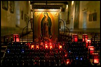 Candles and  Serra Chapel. San Juan Capistrano, Orange County, California, USA