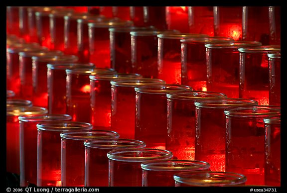 Rows of candles, sharp. San Juan Capistrano, Orange County, California, USA (color)