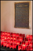 Rows of candles and sign commemorating Father Serra. San Juan Capistrano, Orange County, California, USA ( color)