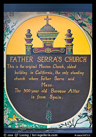 Sign explaining historical significance of Serra Chapel. San Juan Capistrano, Orange County, California, USA (color)