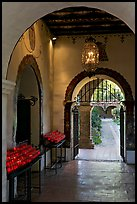 Corridor with candles next to the Serra Chapel. San Juan Capistrano, Orange County, California, USA ( color)