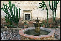 Sacred Garden, with fountain and cacti. San Juan Capistrano, Orange County, California, USA (color)