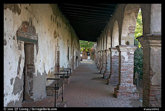 Corridor around the central courtyard. San Juan Capistrano, Orange County, California, USA