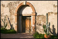 Cactus, and weathered facade. San Juan Capistrano, Orange County, California, USA (color)