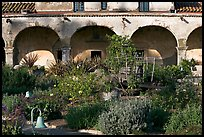 Garden in the entrance courtyard. San Juan Capistrano, Orange County, California, USA
