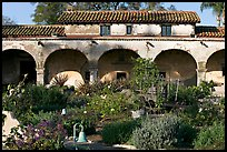 Garden and south wing arches. San Juan Capistrano, Orange County, California, USA