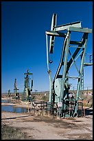 Oil pumping machines, San Ardo Oil Field. California, USA (color)