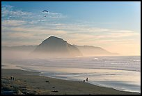 Motorized paraglider, women walking dog, with Morro Rock in the distance. Morro Bay, USA (color)
