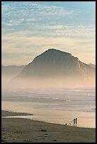 Women walking dog on the beach, with Morro Rock behind. Morro Bay, USA