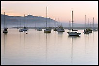 Yachts reflected in calm  Morro Bay harbor, sunset. Morro Bay, USA