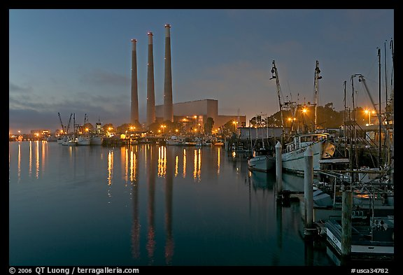 Power station and fishing boats, dusk. Morro Bay, USA
