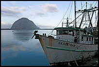 Baat with rusted hull and Morro Rock. Morro Bay, USA (color)