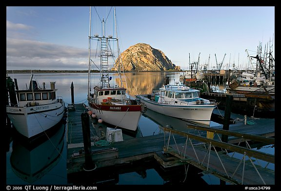 Harbor and Morro Rock, early morning. Morro Bay, USA