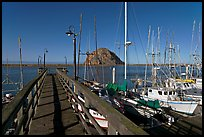 Deck, harbor, and Morro Rock. Morro Bay, USA (color)
