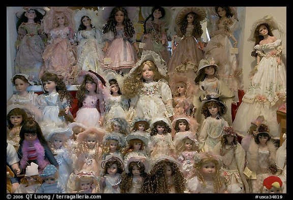 Danish dolls at Andersen gift shop. California, USA (color)