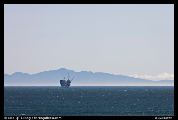 Off-shore oil extraction platform, and Channel Islands. California, USA (color)