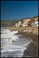 Beachfront homes  near Rincon Island. California, USA (color)