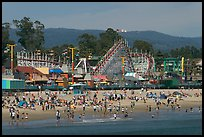 Beach and boardwalk in summer, afternoon. Santa Cruz, California, USA (color)