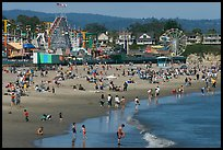 Beach and seaside amusement park on a summer afternoon. Santa Cruz, California, USA