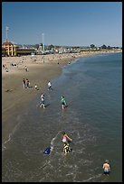 Children playing on the beach. Santa Cruz, California, USA (color)