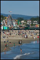 Children, beach, and boardwalk. Santa Cruz, California, USA (color)
