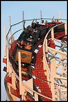 Roller coaster car, Beach Boardwalk. Santa Cruz, California, USA (color)