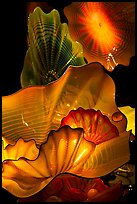 Glass artwork inspired by jellies, Monterey Bay Aquarium. Monterey, California, USA (color)