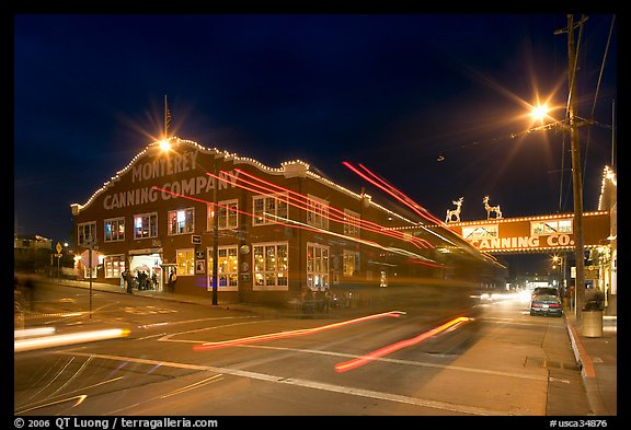 Cannery row at night. Monterey, California, USA
