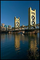Tower bridge and Sacramento River, late afternoon. Sacramento, California, USA (color)
