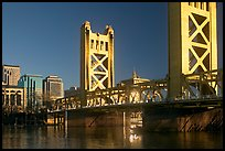 Tower bridge, a 1935 drawbridge, late afternoon. Sacramento, California, USA (color)