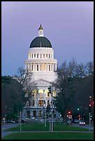 California State Capitol and Capitol Mall at dusk. Sacramento, California, USA