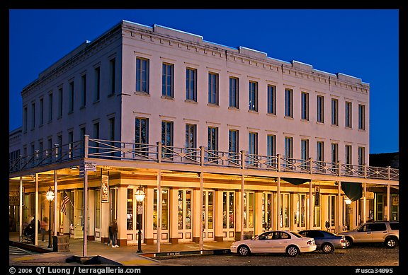 Gold-rush area building at night,  Old Sacramento. Sacramento, California, USA (color)