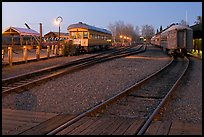 Railroad tracks and cars, Old Sacramento. Sacramento, California, USA (color)