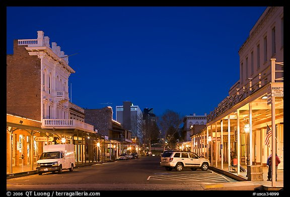 Old Sacramento street at night. Sacramento, California, USA (color)