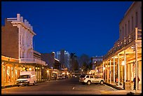 Old Sacramento street at night. Sacramento, California, USA