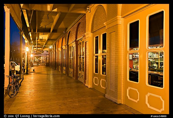 Old Sacramento gallery at night. Sacramento, California, USA (color)