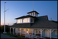 South Bay Yacht club at twilight, Alviso. San Jose, California, USA (color)
