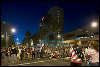 Families waiting for fireworks on Almaden street, Independence Day. San Jose, California, USA