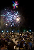 Families watching fireworks, Independence Day. San Jose, California, USA (color)