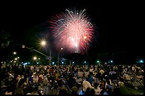Crowds watching fireworks, Independence Day. San Jose, California, USA (color)