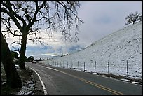 Mount Hamilton road, snowy hills,  and Silicon Valley. San Jose, California, USA (color)