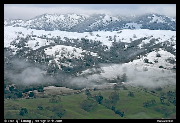 Snow on top of green hills of Mount Hamilton Range. San Jose, California, USA (color)