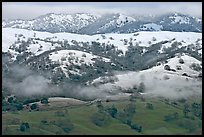Snow on top of green hills of Mount Hamilton Range. San Jose, California, USA ( color)