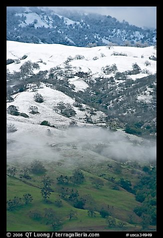 Green hills partly covered with snow, Mount Hamilton Range. San Jose, California, USA