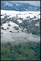 Green hills partly covered with snow, Mount Hamilton Range. San Jose, California, USA ( color)