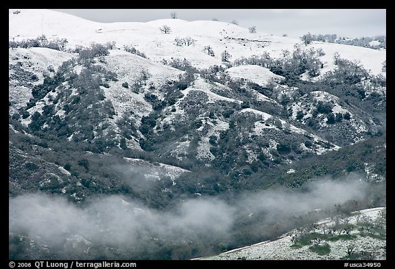 Snow and fog on Mount Hamilton Range. San Jose, California, USA (color)