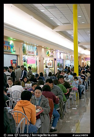 Vietnamese people in the foot court of the Grand Century mall. San Jose, California, USA (color)