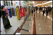 Ao Dai Vietnamese traditional formal dresses, Grand Century mall. San Jose, California, USA (color)